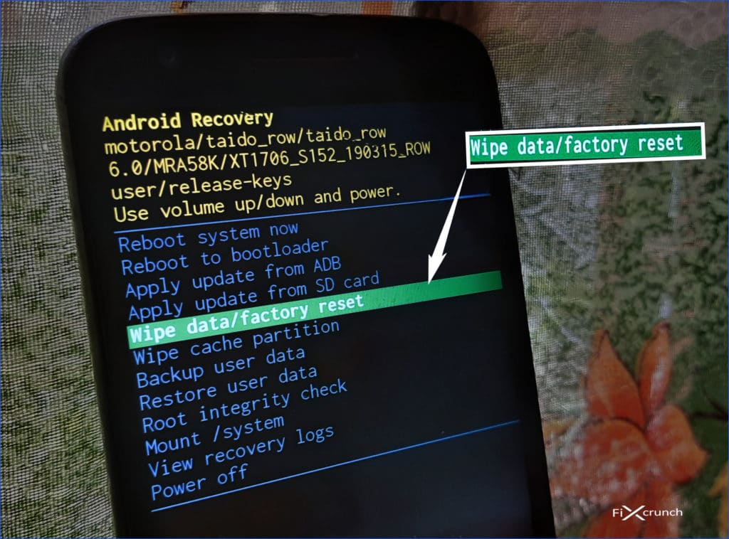 Wipe data factory reset On Recover Mode