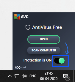 AVG Disable Button