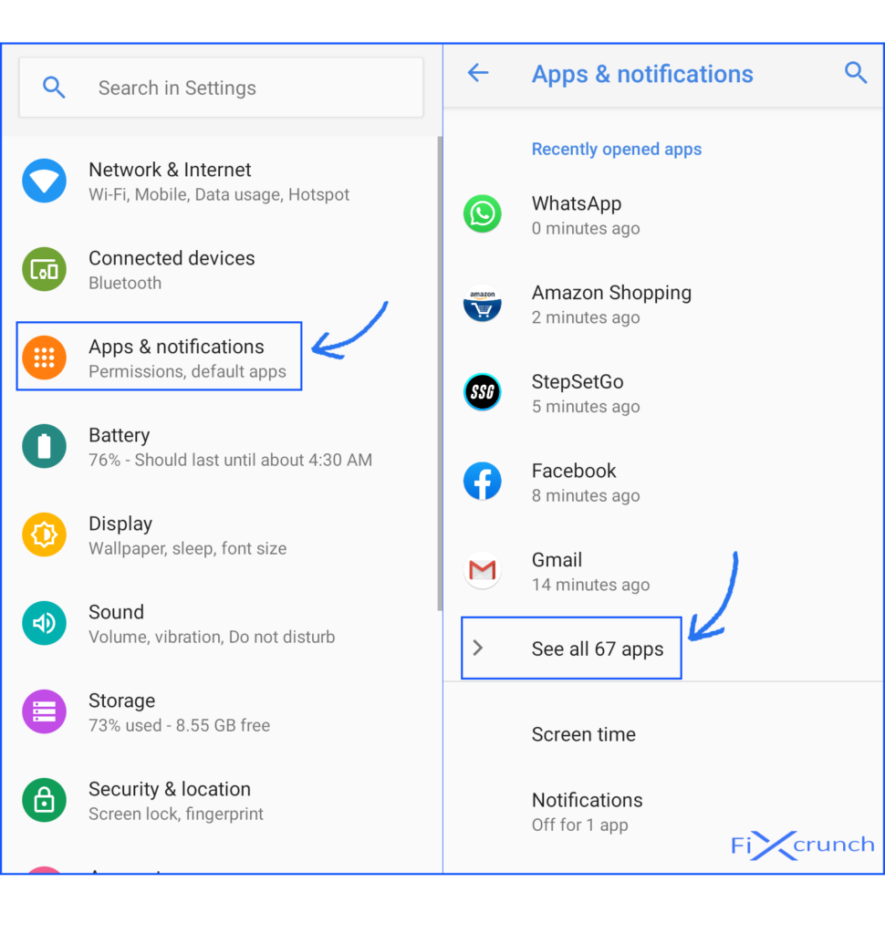 All apps under Apps & notifications option