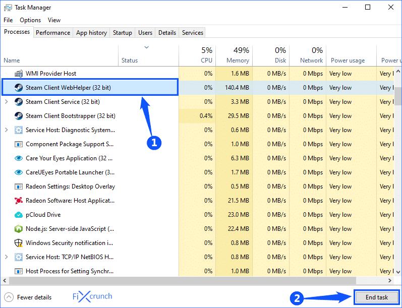 steam client WebHelber End task