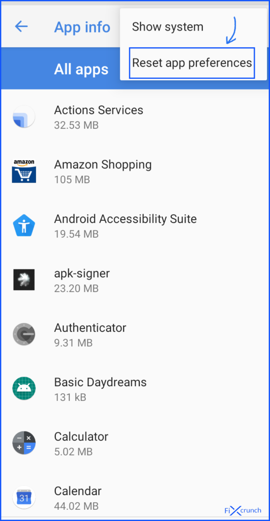 Reset App Preferences android