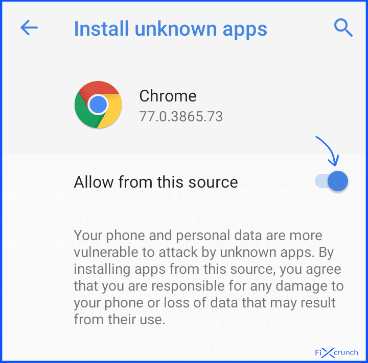 enable Allow from this source on chrome