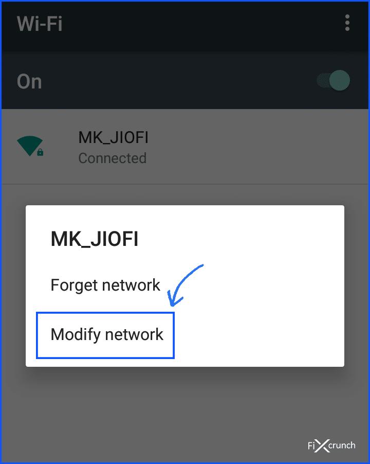 modify network on wifi