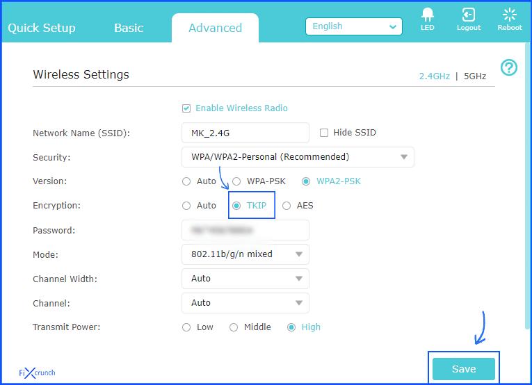 router TKIP settings
