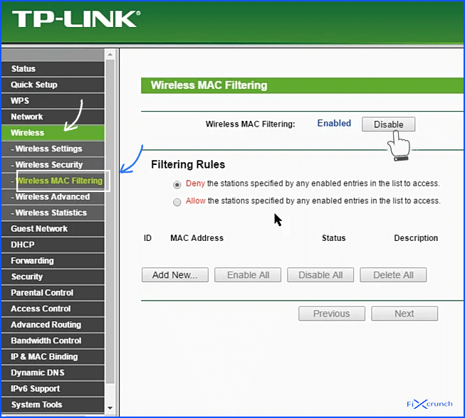 router mac filter option