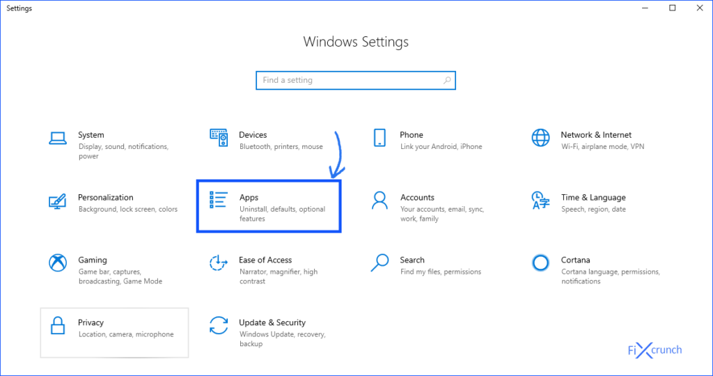 Windows Setting App