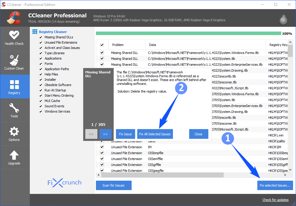 CCleaner Registry Issue Fix