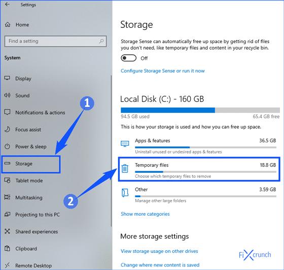 Windows Storage Temporary Files