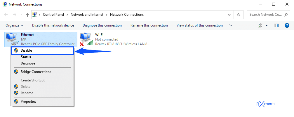 Ethernet Disable