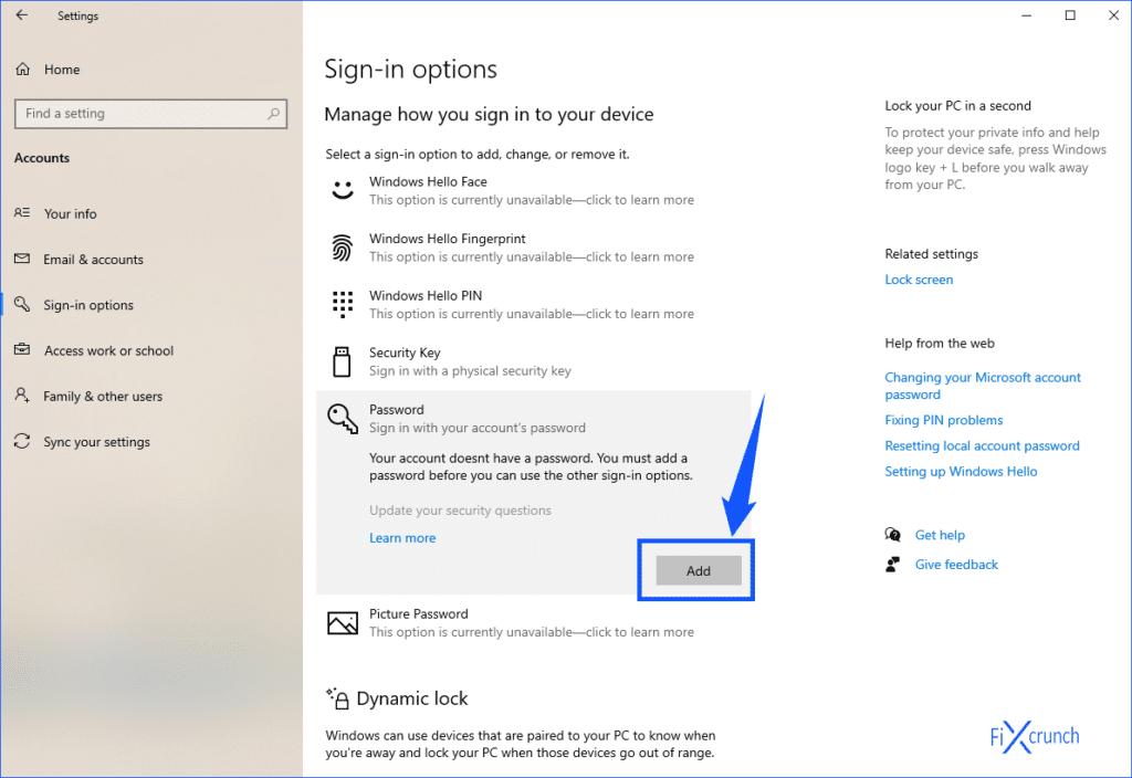 Windows Password Add
