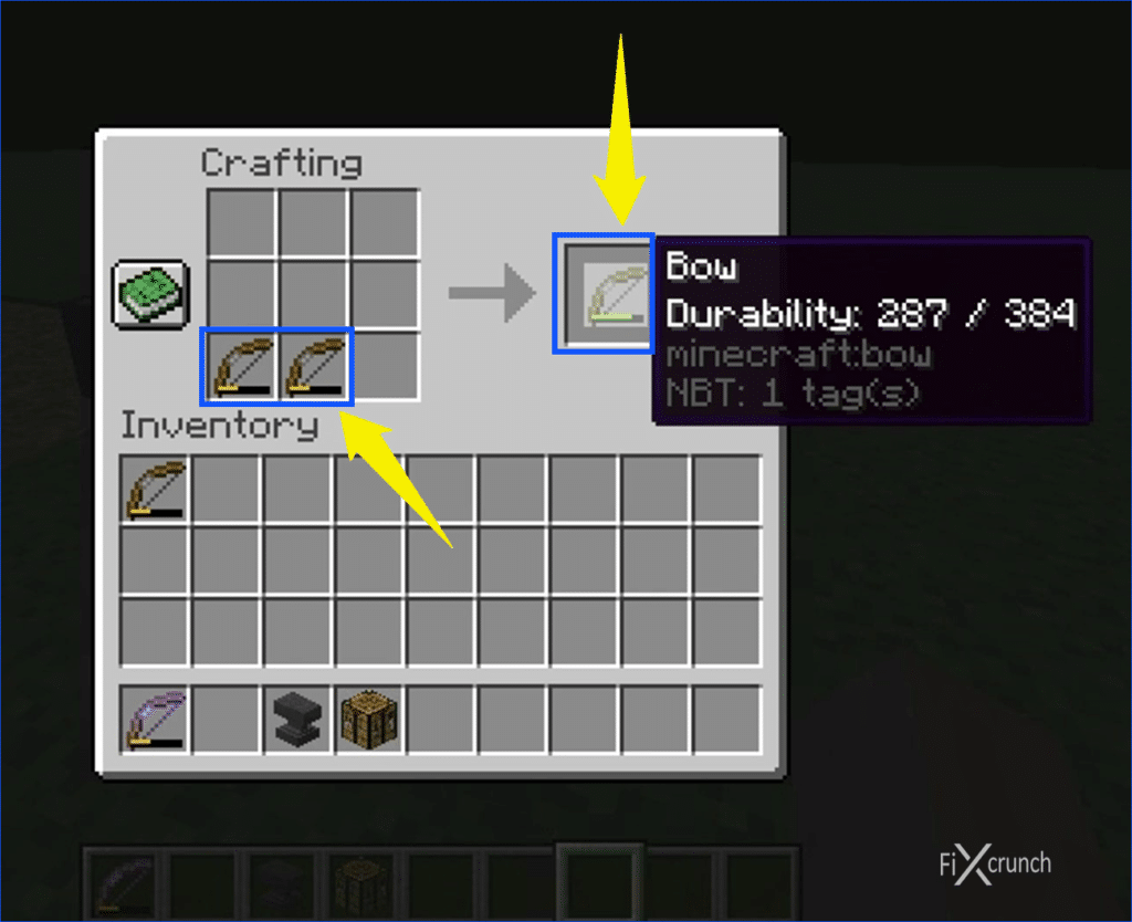 Bow Repairing on Crafting Table