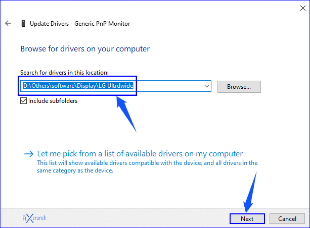 Monitor Driver Selection