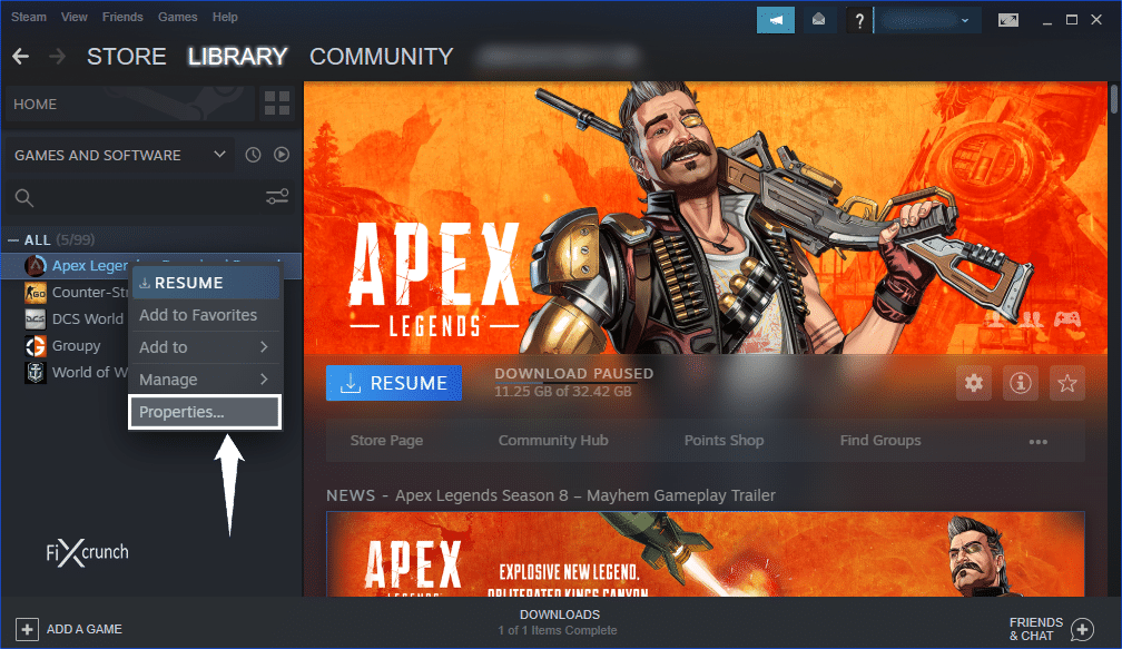 Steam Game Properties