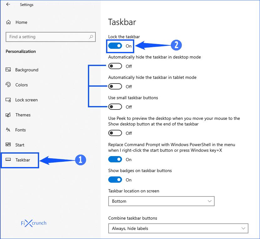 Taskbar Settings